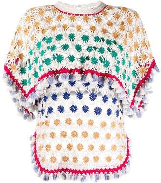 Isabel Marant Cape-Overlay Floral Crochet Top