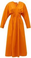 Roksanda Marola Pleated Cotton Midi Dress - Womens - Orange