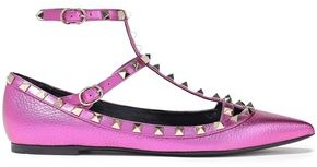Valentino Garavani Rockstud Metallic Textured-leather Point-toe Flats