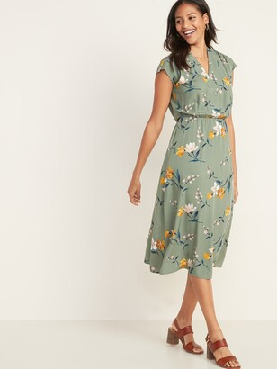 Old Navy Waist-Defined V-Neck Midi Dress for Women