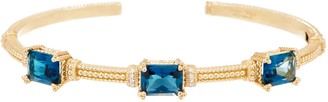 Judith Ripka 14K Gold Triple Gemstone & Diamond Cuff