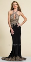 Dave and Johnny Rhinestone Embroidered Keyhole Column Evening Dress
