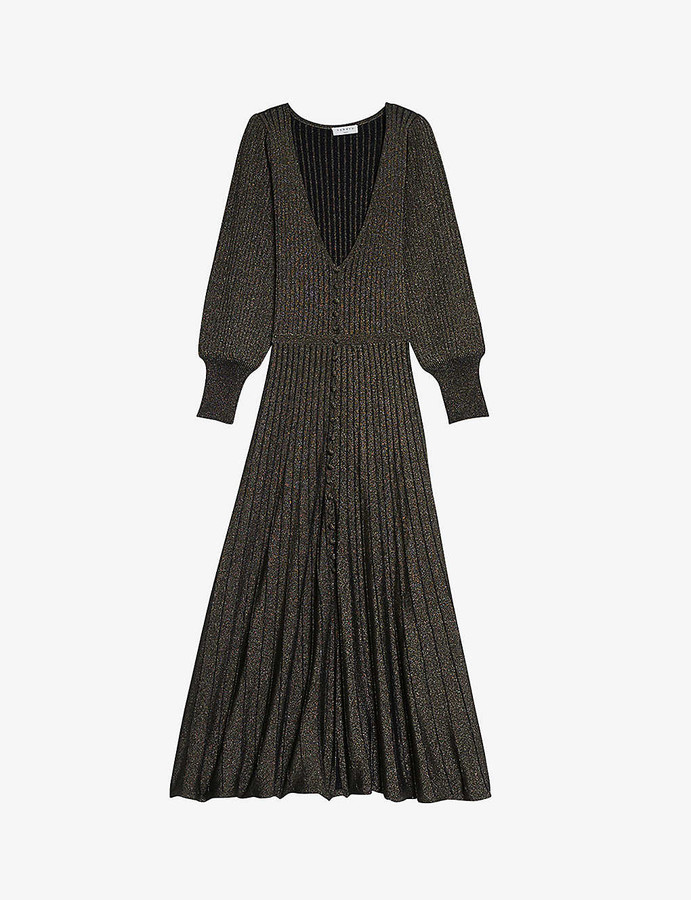 Sandro Aure bell-sleeve knitted lurex dress