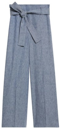 Theory Belted Cropped Linen Pants