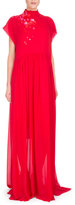DELPOZO Bead-Embroidered Mock-Neck Georgette Gown, Red