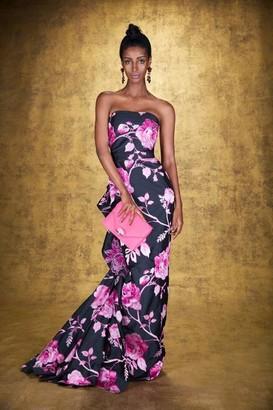Marchesa Strapless Tonal Embroidered Taffeta Gown