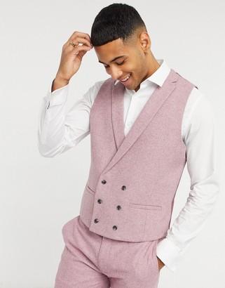 Topman slim-fit wool suit waistcoat in pink