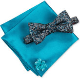 Alfani Men's Thompson Geo Bow Tie & Solid Pocket Square Set, Only at Macy's