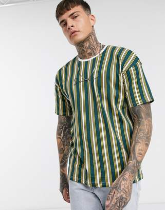 ONLY & SONS dropped shoulder vertical stripe logo t-shirt in yellow