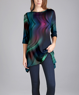 Lily Blue & Green Abstract Tunic - Plus Too