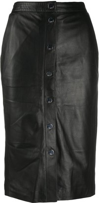 Karl Lagerfeld Paris High-Rise Leather Skirt