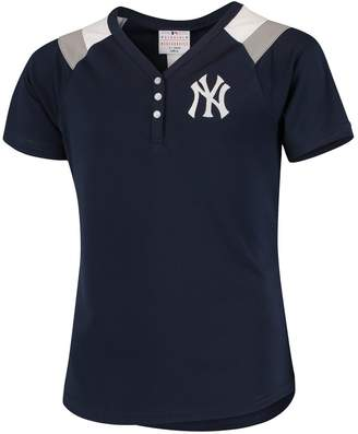 New York Yankees Outerstuff Girls Youth Navy Pretty Pitcher V-Neck Fashion Jersey T-Shirt