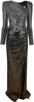 Philipp Plein Crystal Belted Long Dress
