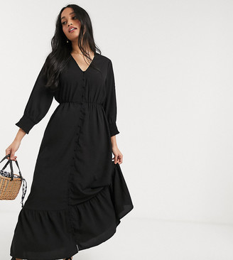 Vero Moda Petite smock maxi dress with button down and drop hem in black