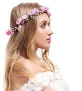 Valdler Adjustable Beach Flower Crown Garland for Wedding Hair Wreath Pink