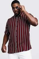 BoohooMAN Big & Tall Stripe Regular Fit Collar Shirt