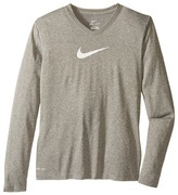 Nike Leg V-Neck SwooshTM L/S Tee (Little Kids/Big Kids)