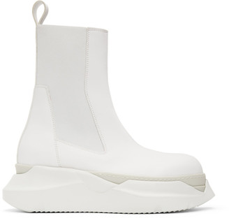 Rick Owens White Abstract Beetle Boots