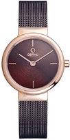 Obaku Ladies' Rose Gold Plate & Brown Mesh Bracelet Watch