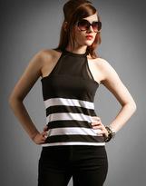 Stripe Cotton Jeresy Halter Neck