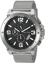 Adee Kaye Men's Quartz Stainless Steel Dress Watch, Color:Silver-Toned (Model: AK8896-MBK / SIL MESH)