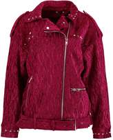 Missguided CLARET STUDDED BIKER Summer jacket purple