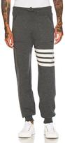 Thom Browne Cashmere 4 Bar Stripe Sweatpants in Gray.