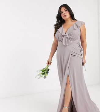TFNC Plus bridesmaid ruffle detail maxi dress with thigh split in gray