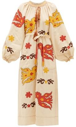BEIGE Vita Kin - Parrot-embroidered Linen Midi Dress - Womens Multi