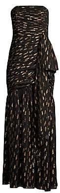Shoshanna Women's Samira Metallic Polka Dot Strapless Gown