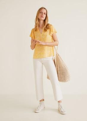 MANGO Ruffled sleeve blouse yellow - 2 - Women