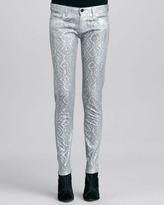 Faith Connexion Metallic Jacquard Slim-Fit Jeans, Silver