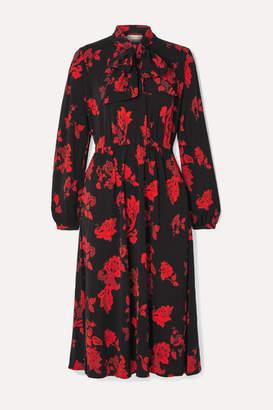 Tory Burch Tie-neck Floral-print Jersey Midi Dress - Black
