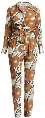 Rachel Comey Luana Silk Floral Shirt Jumpsuit
