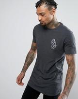 Luke 1977 Bowen Longline T-shirt Slim Fit Reflective Large Logo In Charcoal Marl