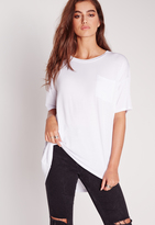 Missguided Pocket Front Oversize T-Shirt White
