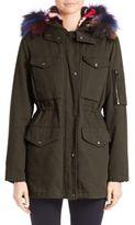 Jocelyn Two-In-One Military Jacket & Fur Vest