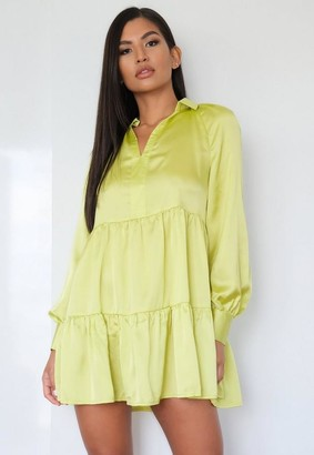 Missguided Petite Lime Satin Long Sleeve Tiered Dress