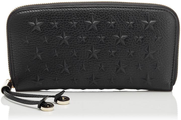 Jimmy Choo FILIPA Black Grainy Leather Wallet with Embossed Stars
