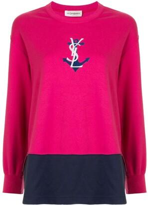 Yves Saint Laurent Pre-Owned logo anchor print T-shirt
