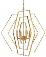 Chelsea House Hexagon Chandelier - Antiqued Gold Leaf