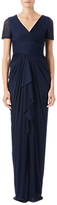 Adrianna Papell Petite Pin Tucked And Draped Gown, Midnight