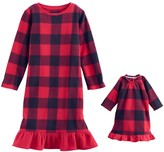 Jammies For Your Families Toddler Girl Jammies For Your Families Buffalo Plaid Microfleece Nightgown & Doll Gown Pajama Set