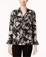 Charter Club Floral-Print Flare-Sleeve Blouse, Created for Macy's