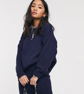 ASOS DESIGN Petite two-piece oversized chunky crew neck sweater