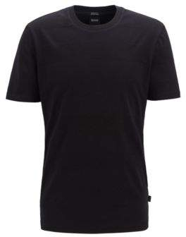 Crew-neck T-shirt in cotton and linen with stripes
