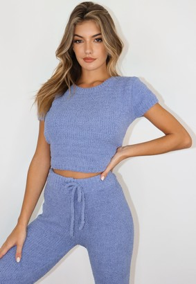 Missguided Blue Cosy Knit T Shirt