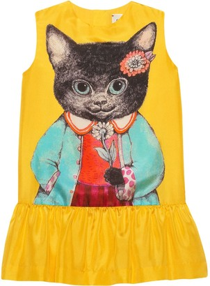 Gucci Kids Children's silk dress with kitten print