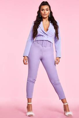 boohoo Woven Exaggerated Wide Belt Tapered Trouser