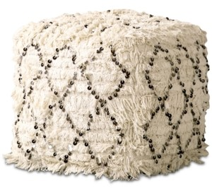 Bloomingville Moroccan Wedding Quilt Pouf with Sequins & Fringe